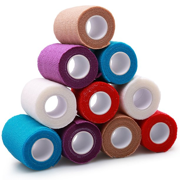 Lotfancy Self Adhesive Cohesive Wrap Bandage Tape Elastic Non Woven 4 Inches X 5 Yards 10 Rolls Assorted Colors