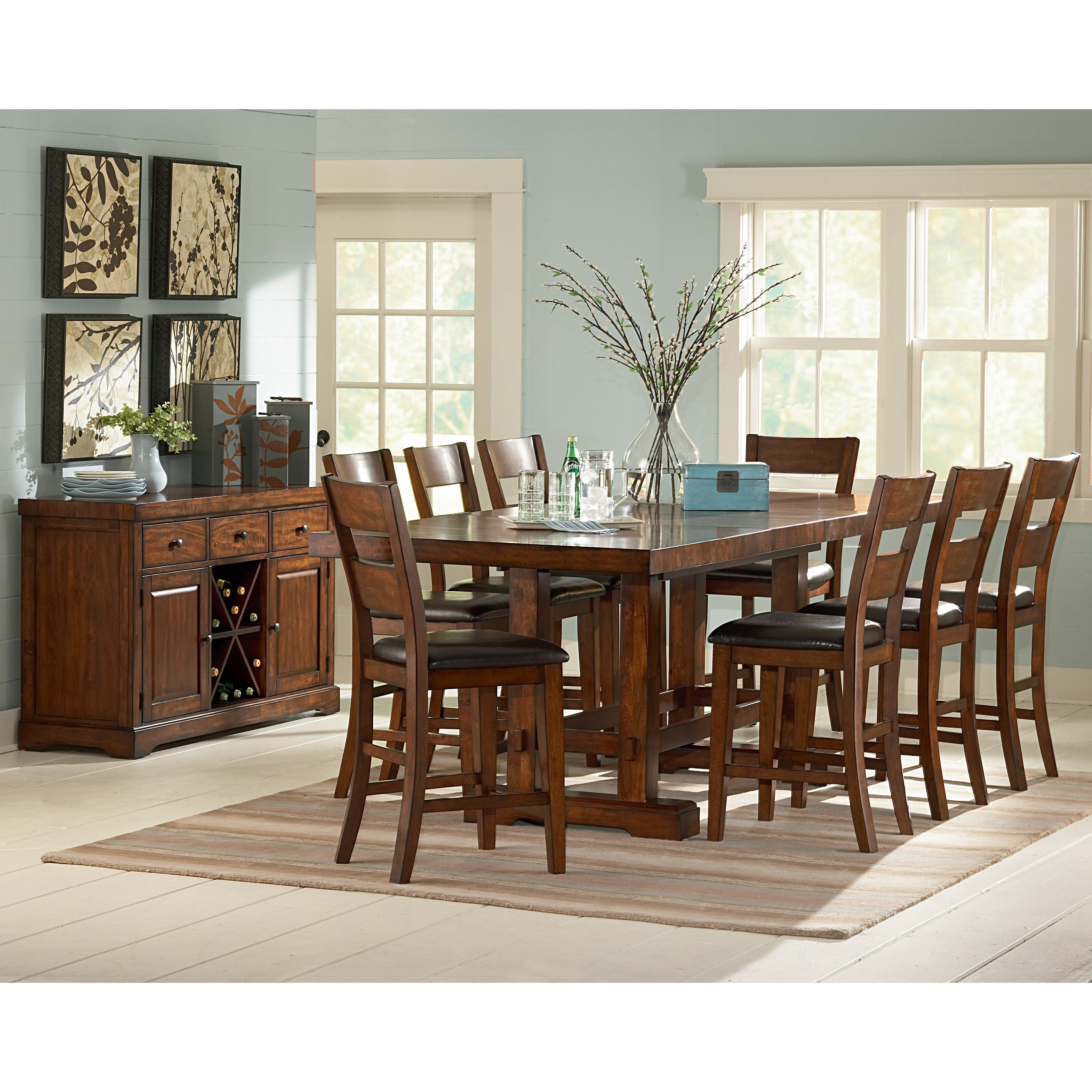 Steve Silver Zappa 9 piece Counter Height Dining Set - Tobacco / Cherry