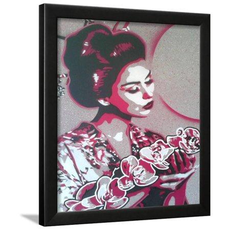 Art Marble 21 Halloween (Marble Geisha Framed Print Wall Art By Abstract)