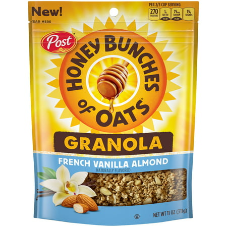 (3 Pack) Post Honey Bunches of Oats Granola, French Vanilla Almond, 11 Oz