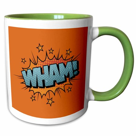 3dRose Wham Sound Effect In Red Lettering - Two Tone Green Mug, 11-ounce