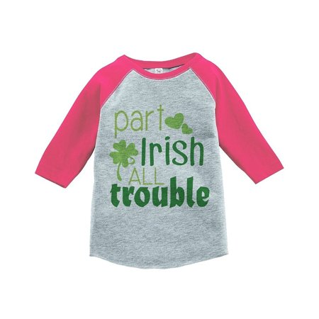 Custom Girl Clothing (Custom Party Shop Girls' St. Patrick's Day Vintage Baseball Tee - Pink / Small Youth (6-8))