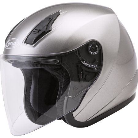 Glossy Silver Motorcycle Helmet (GMAX OF-17 Open Face Motorcycle/Scooter Helmet Titanium)