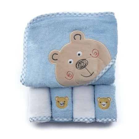100% Cotton Terry Hooded Towel with 4 Wash Cloth - Light Blue