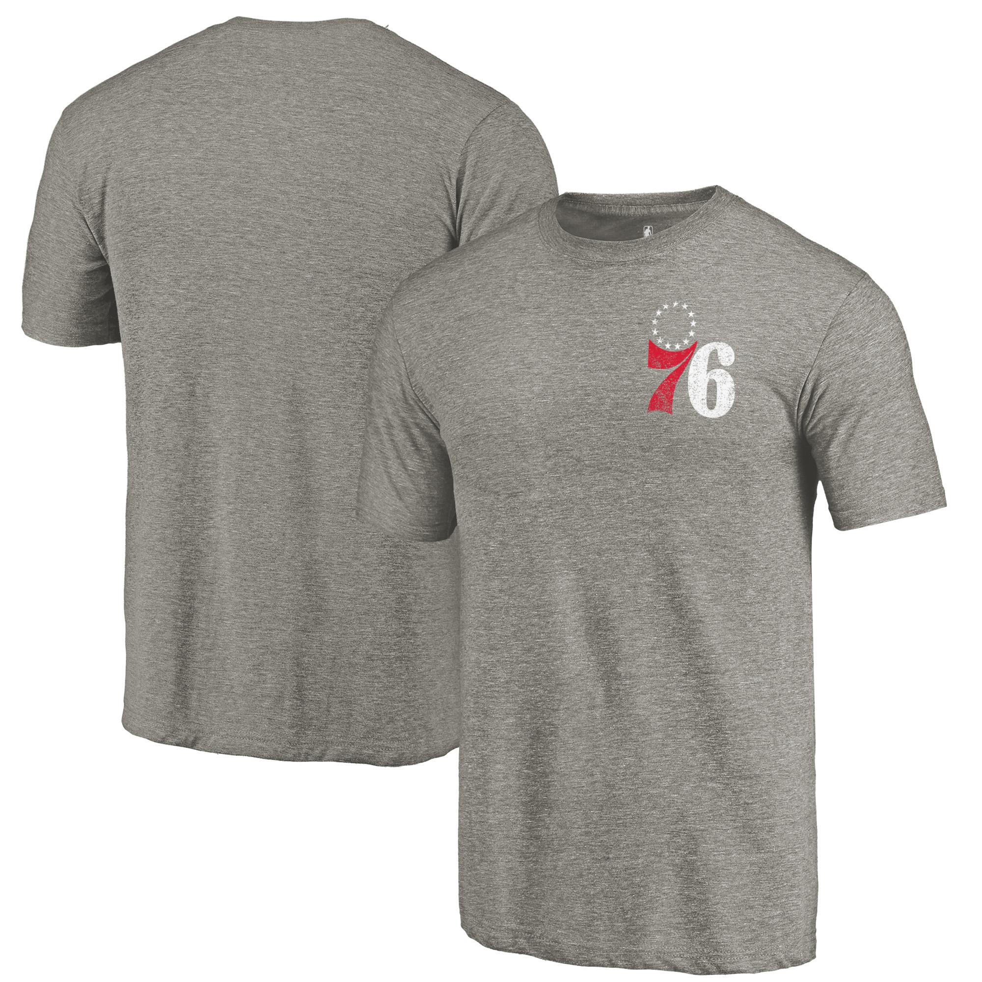 Philadelphia 76ers Fanatics Branded Primary Logo Left Chest Distressed Tri-Blend T-Shirt - Gray
