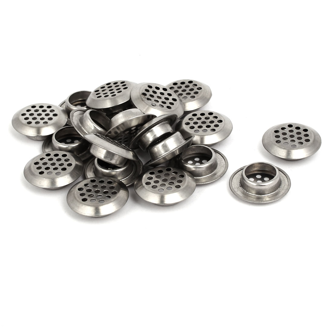 Household Stainless Steel Round Shaped Mesh Hole Air Vents Louver 19mm Dia 20pcs
