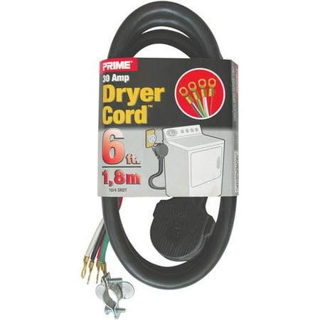 Prime 3-Pole 4-Wire SRDT 30A 125/250-Dryer Cord Volt, Gray, 6 ...