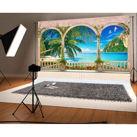 HelloDecor Polyster 7x5ft Photography Background Old Arch Villa Building Balcony Sea View Landscape Palm Trees Blue Ocean and Sky Green Mountain Background Beautiful Scenery Children Photo Studio Prop