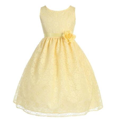 Yellow Dress For Little Girl (Little Girls Yellow Floral Lace Flower Girl Dress)