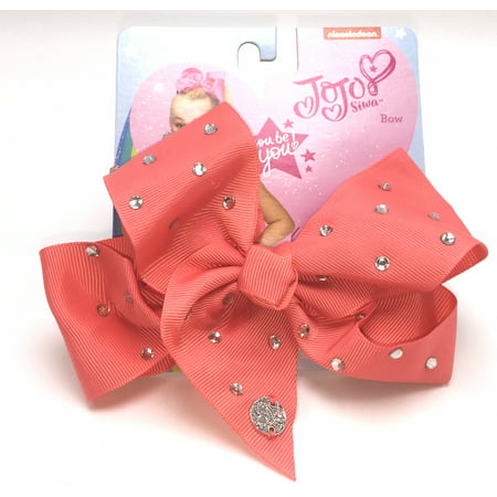 Lands End Girls Bow - JoJo Siwa Neon Coral All Over Rhinestone Hair Bow