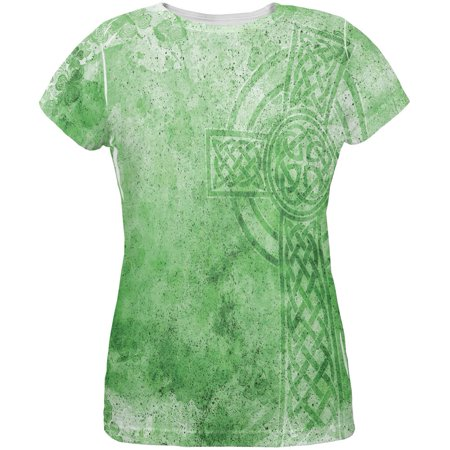 Celtic Cross Adult T-shirt - St. Patricks Day Dirty Irish Celtic Cross All Over Womens T Shirt
