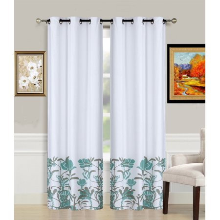 1-Piece ER2 SAGE Printed Lined Blackout Grommet Window Curtain Treatment, One (1) Floral Pattern Room Darkening Panel 37
