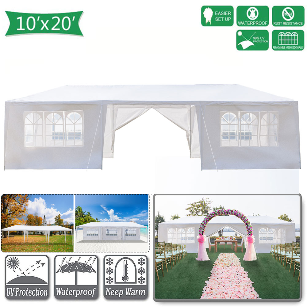 Hommoo 10' x 20' Canopy Tents for Outside, Easy Pop up Canopy Tent for Camping with 8 Removable Sidewalls, Waterproof Folding Canopy Wedding Tent for Party Beach Commercial Event Gazebo Pavilion BBQ