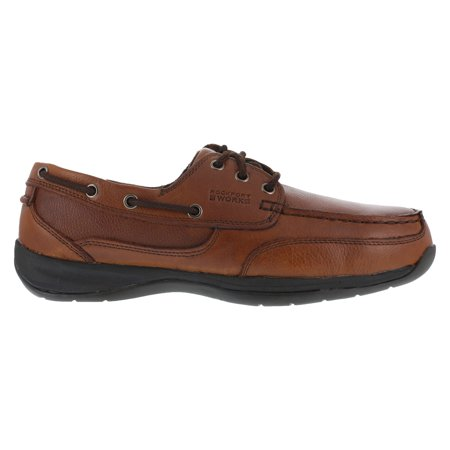 Rockport Mens Dark Brown Leather Boat Shoes Sailing Club Steel Toe 8 M Scrunch Leather Footwear