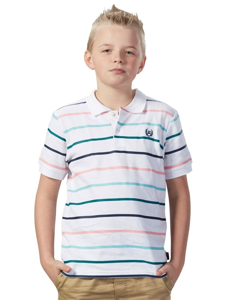 Leo&Lily Boys Short Sleeve Casual Cotton Stripes Rugby Polo Shirts