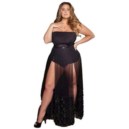 Womens Plus Size Floral Maxi Skirt Lingerie- Boudoir Sheer Dress
