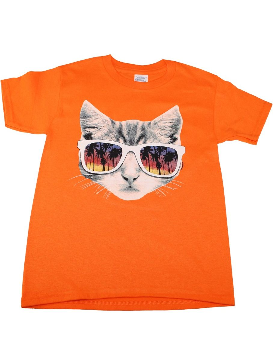 Little Kids Unisex Orange Sunglasses Cat Print Short Sleeve T-Shirt