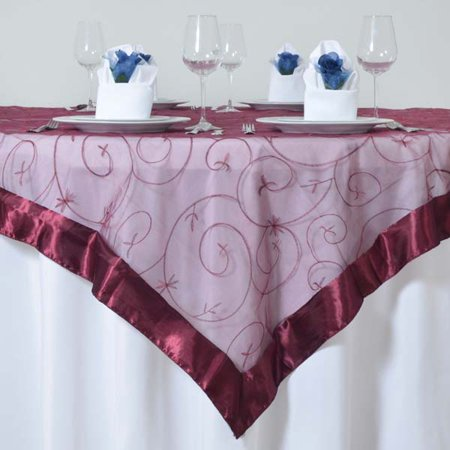 Efavormart Organza Embroidered Table Overlay 72