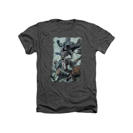 Batman DC Comics Superhero Scarecrow Punch Adult Heather T-Shirt Tee (Scarecrow Batman Tattoo)