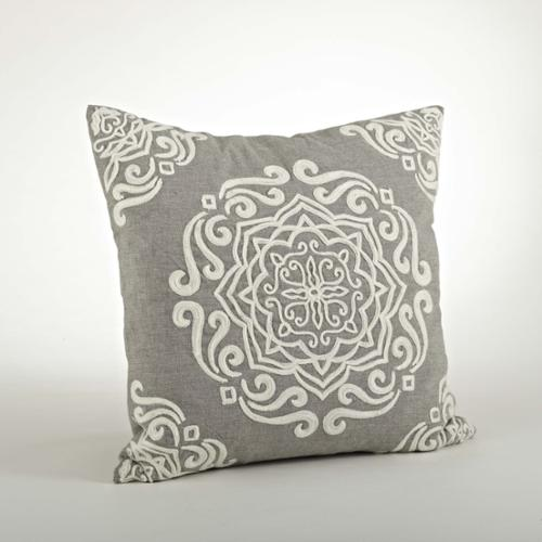 Embroidered Design Pillow - 18inch Grey, embroidered Pillow