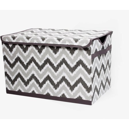 Bacati - MixNMatch Grey Zigzag Cotton Percale Fabric covered Storage, Toy Chest, 24.5 L x 15 W x 14 H inches](Pink Storage Boxes)