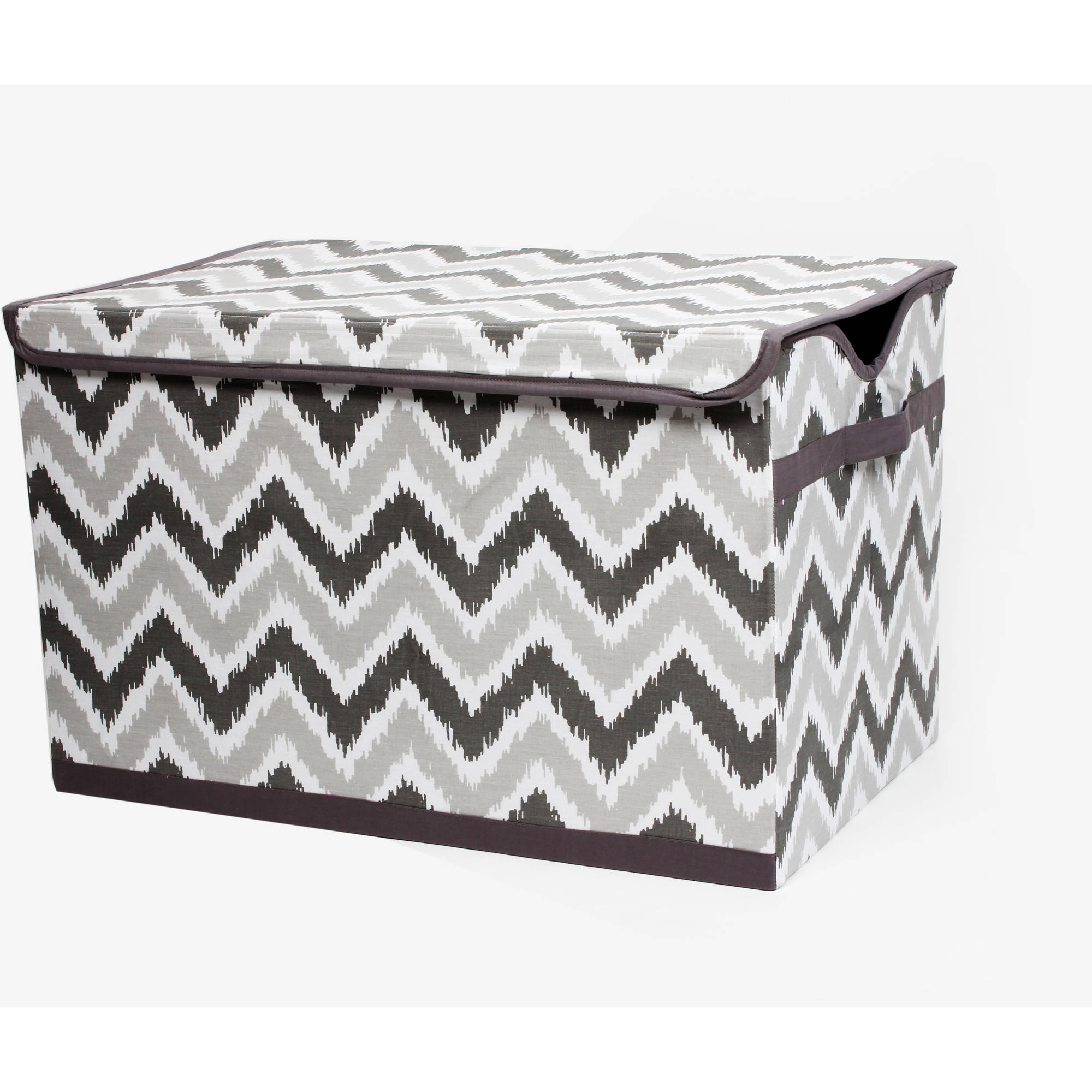 Bacati - MixNMatch Grey Zigzag Cotton Percale Fabric covered Storage, Toy Chest, 24.5 L x 15 W x 14 H inches