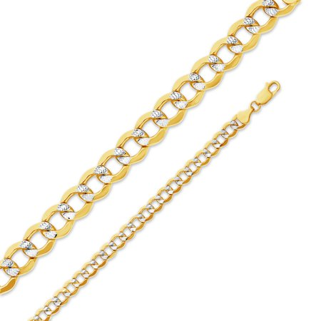 14k Yellow Gold 6.5mm Hollow Cuban Concaved Curb White Pave Diamond-Cut Chain Necklace 20