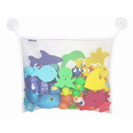 Reactionnx Kids Bath Toys Organizer Holder Hanging Storage Mesh Bag with 2 Suction
