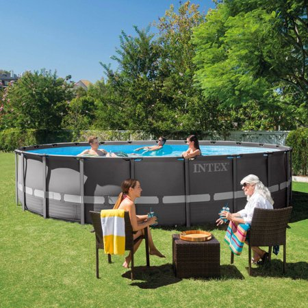 Intex 22 39 X 52 Ultra Frame Above Ground Swimming Pool With Filter Pump Box 2 Of 2