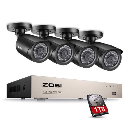 ZOSI 8 Channel 1080N CCTV Camera System 1TB Surveillance HDD 4x 720P In/Outdoor Bullet Cameras, Security Camera Systems Bullet Cctv Security Camera