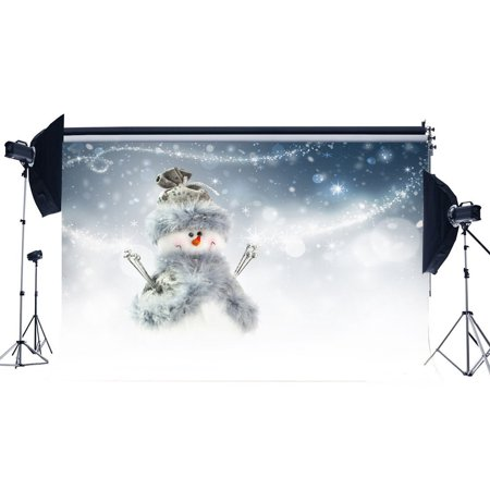 MOHome Polyster 7x5ft Photography Backdrop Merry Christmas Cute Snowman Snowflakes Bokeh Halos Glitter Sequins Xmas Backdrops for Baby Kids Adults Happy New Year Background Photo Studio Props
