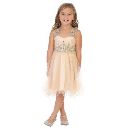 e8390d24a3c My Best Kids Little Girls Champagne Stone Accented Flower Girl Dress ...