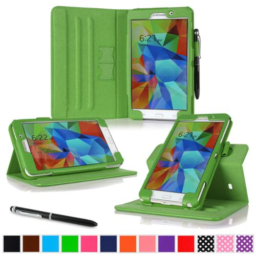 """rooCASE Samsung Galaxy Tab 4 7.0 SM-T230 Tablet Case - Dual View Multi-Angle Stand Cover with Pen Stylus for Tab4 7-Inch 7"""", Green"""