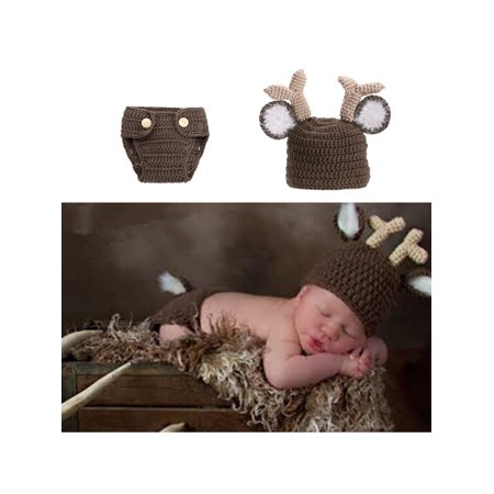 Newborn baby girls boys crochet knit costume photography props outfits deer