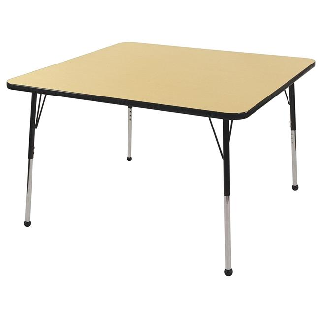 Early Childhood Resources ELR14116P4X16-MBBKSB 30 in. Square Activity Table with Standard Legs & 4 x 16 in. Stack Chairs, Ball Glides - Maple & Black