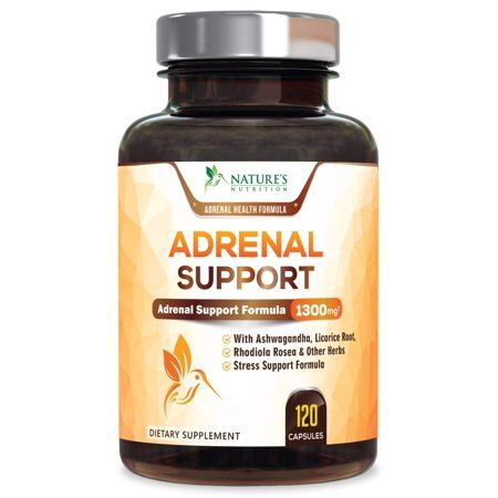 Nature's Nutrition Adrenal Support & Cortisol Manager Health Complex, 1300mg, 120 Ct