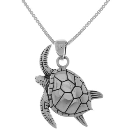 Sterling Silver Swimming Sea Turtle Pendant on 18 Inch Box Chain Necklace