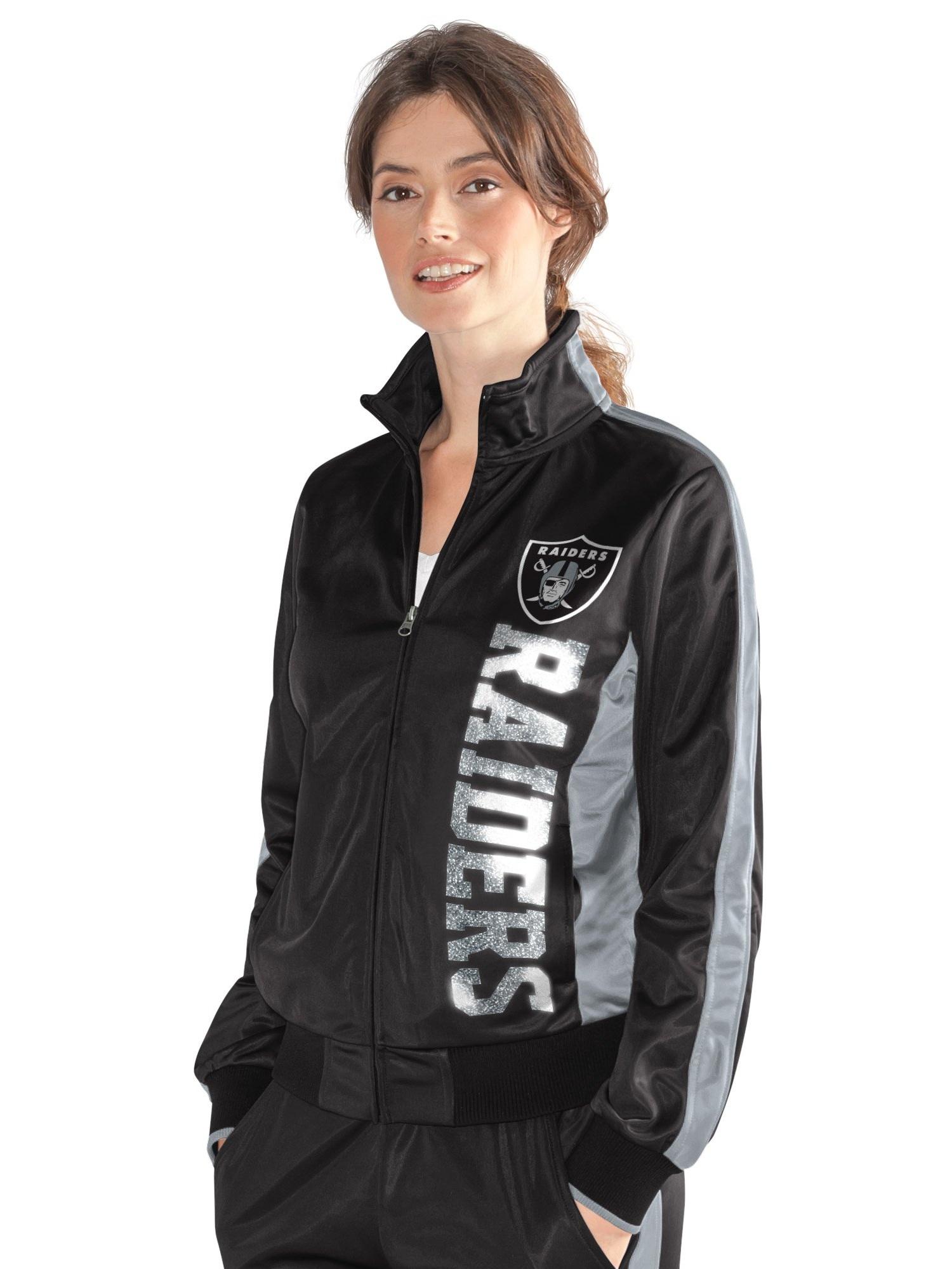 Oakland Raiders Women's Black Silver MVP Full-Zip Track Jacket by G-III 4Her by Carl Banks