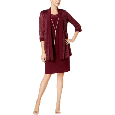 R&M Richards Womens Special Occasion Metallic Dress With (Dress With Jacket)
