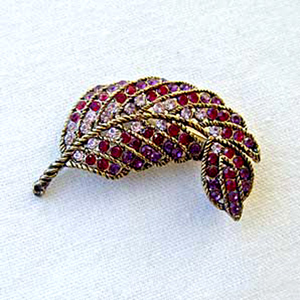 Platinum-Plated Swarovski Crystal Enamel Feather Pin  Brooch (1 2 x 1 1 2) Gift Boxed by