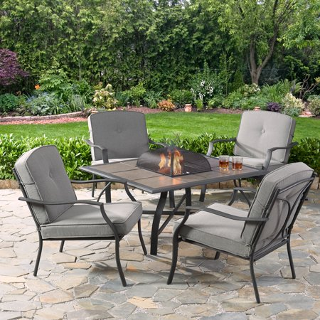 Mainstays Holten Ridge 5-Piece Tile-Top Fire Pit Chat Set with Gray Cushions (Conversation Sets With Fire Pit)