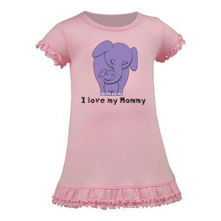 0436443e5aa2 I Love my Mommy Elephant Purple Purple A-Line Baby Dress Baby Pink ...