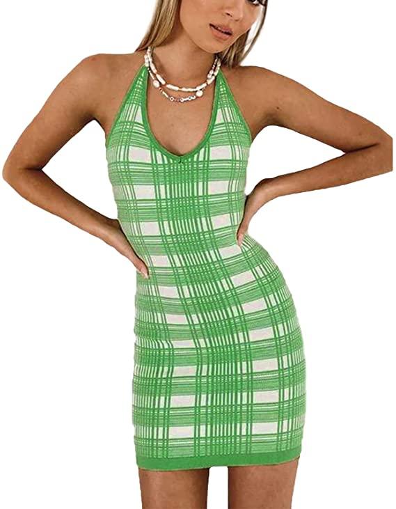 Sleeveless Knitted Dress Women Bodycon Ladies Summer Slim V Neck