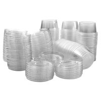 Plastic Jello Shot Cups By Green Direct - Disposable 2 oz Clear Cups With Lids - Useful for any Party for Souffle Dessert or Ice Cream for hot & cold - Portion Condiment Sample Cup Pack of 100