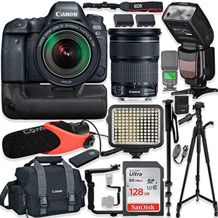 Canon EOS 6D Mark II DSLR Camera w/Canon 24-105mm STM Lens Kit + Pro Photo  & Video Accessories Including 128GB Memory, Speedlight TTL Flash, Battery