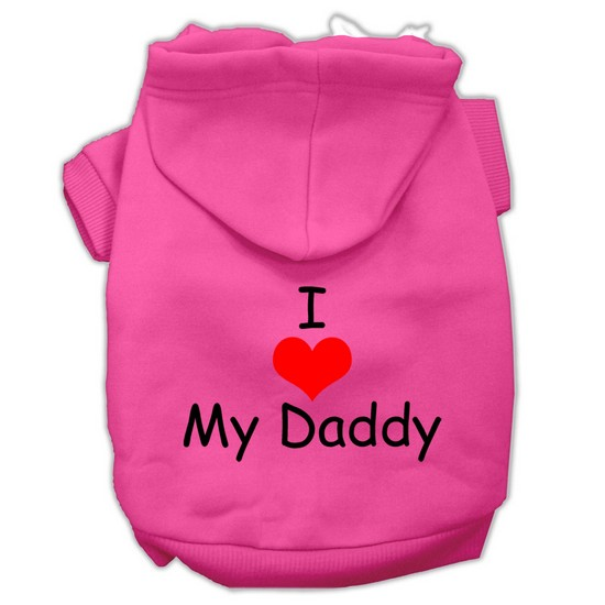 I Love My Daddy Screen Print Pet Hoodies Bright Pink Size XXL (18)