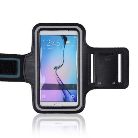 Tech Express Sport Gym Armband for Samsung Galaxy S6 (with Key Pocket) - Black