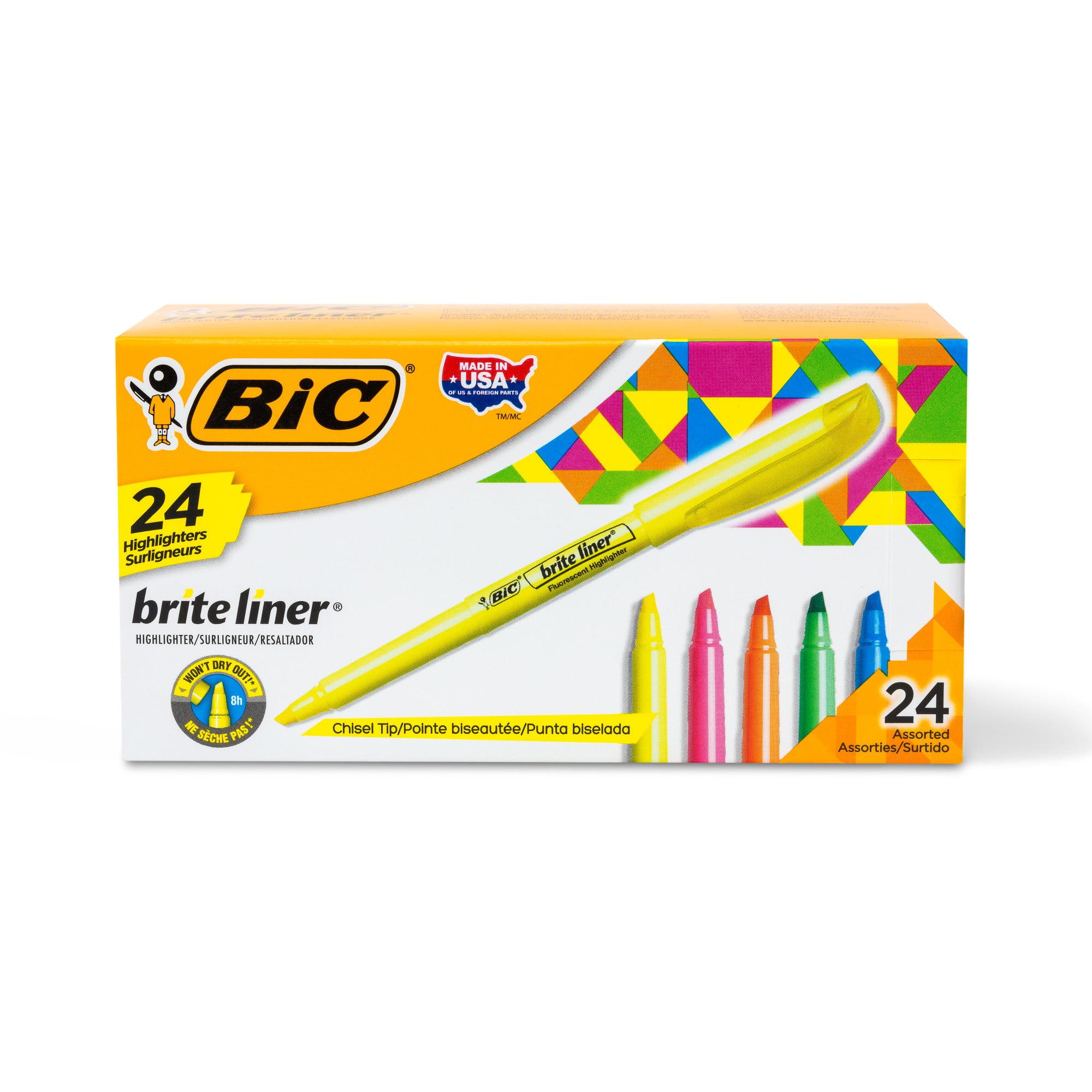 BIC Brite Liner Highlighter, Chisel Tip, Assorted Colors, 24 Count
