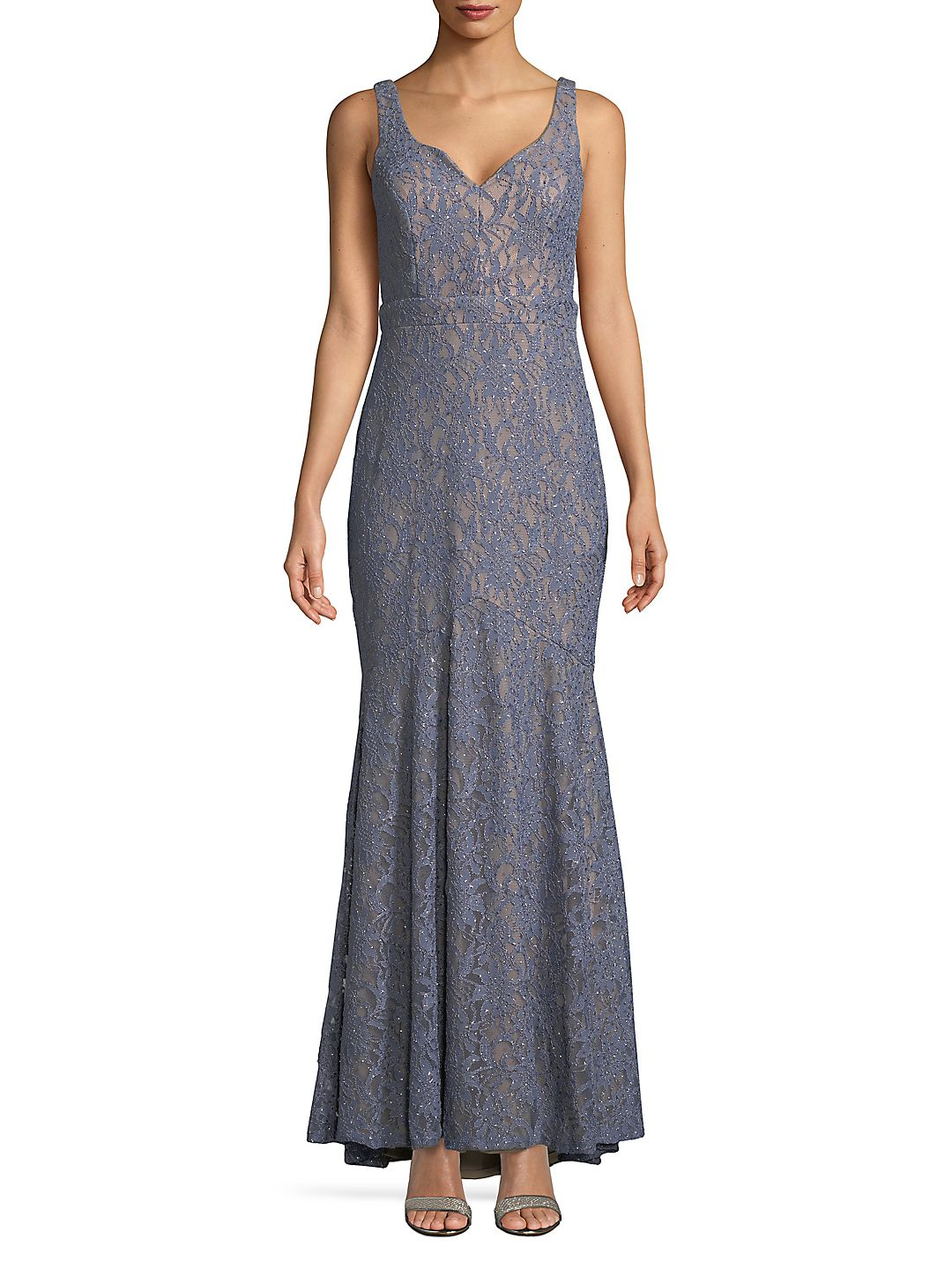Embroidered Lace Floor-Length Dress