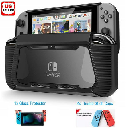 Hybrid Case for Nintendo Switch Rugged Rubberized Snap on Hard Cover TPU + 2pcs thumb grips caps + 1pc H9 glass screen (Soap Case)